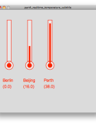 Thermometer graphics fed with real-time temperature data from Pachube
