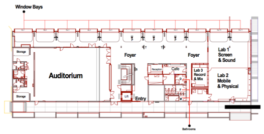 Floorplan of The Edge: Multiple work lounges (window bays) and labs provide space for collaborative work activities and meetings.